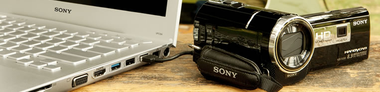 Sony Camcorder connected to a Sony PC